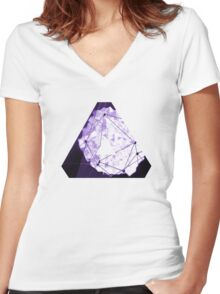 Abstract Geometry: Poison Violet (Dark Purple/Violet) Women's Fitted V-Neck T-Shirt