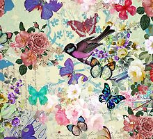 Colorful bird butterflies vintage floral pattern by Maria Fernandes