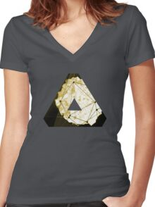 Abstract Geometry: Sand Palace (Deus Ex Gold) Women's Fitted V-Neck T-Shirt