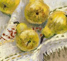 Still life with Pears on a Tablecloth by kira-culufin