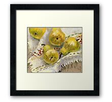 Still life with Pears on a Tablecloth Framed Print