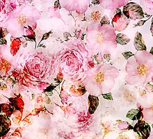 Chic girly pink watercolor vintage floral pattern by Maria Fernandes