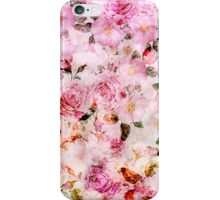 Chic girly pink watercolor vintage floral pattern iPhone Case/Skin