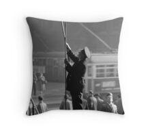 B&W Clock supervisor Flinders Street station 19580904 0010 Throw Pillow