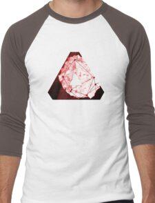 Abstract Geometry: Blood Ruby (Dark Red) Men's Baseball ¾ T-Shirt