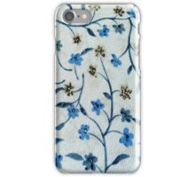 Vintage blue brown fabric texture floral pattern  iPhone Case/Skin