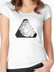 Abstract Geometry: Monochrome Crystal (Black/White/Grey) Women's Fitted Scoop T-Shirt