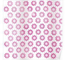 Girly pink watercolor abstract floral pattern Poster