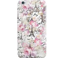 Vintage Paris Eiffel Tower pink flowers pattern iPhone Case/Skin