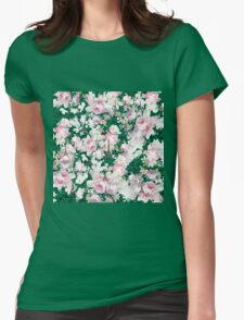 Vintage Paris Eiffel Tower pink flowers pattern Womens Fitted T-Shirt