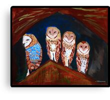 Clever Little Barn Owls Canvas Print