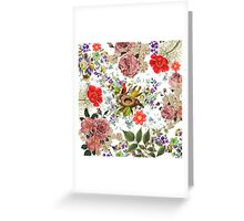 Vintage colorful birds nest chic pink roses floral  Greeting Card