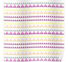 Girly pink yellow watercolor triangles pattern Poster