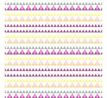 Girly pink yellow watercolor triangles pattern Photographic Print