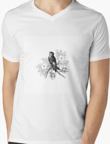 Cute vintage black and white bird flowers pattern  Mens V-Neck T-Shirt