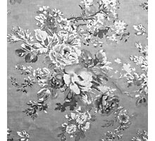 Vintage black and white fabric floral pattern  Photographic Print