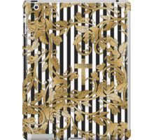 Chic gold faux glitter flowers vintage stripes iPad Case/Skin