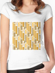 Retro modern yellow orange abstract pattern Women's Fitted Scoop T-Shirt