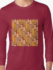 Retro modern yellow orange abstract pattern Long Sleeve T-Shirt