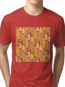 Retro modern yellow orange abstract pattern Tri-blend T-Shirt
