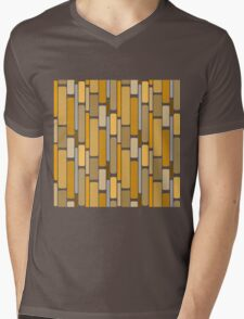Retro modern yellow orange abstract pattern Mens V-Neck T-Shirt