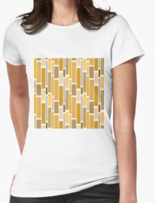 Retro modern yellow orange abstract pattern Womens Fitted T-Shirt