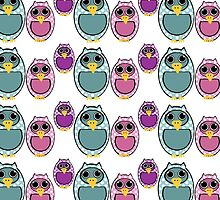Cute girly pink green polka dots owls pattern by Maria Fernandes