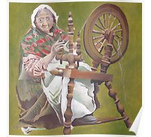 Old Irish Woman Sitting At A Spinning Wheel Poster