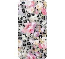 Hipster black white animal print vintage flowers iPhone Case/Skin