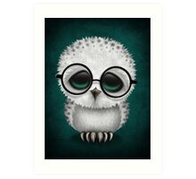 Cute Baby Snowy Owl Wearing Glasses on Teal Blue Art Print