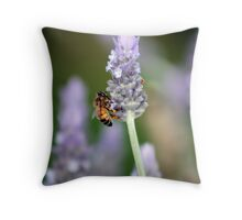 Time for nectar for the buzzy bee Throw Pillow