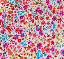 Vintage colorful pink teal red floral pattern by Maria Fernandes