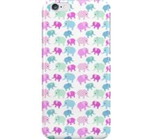 Cute pink teal floral polka dots elephants pattern iPhone Case/Skin