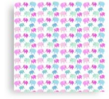 Cute pink teal floral polka dots elephants pattern Canvas Print