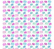 Cute pink teal floral polka dots elephants pattern Photographic Print