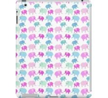 Cute pink teal floral polka dots elephants pattern iPad Case/Skin