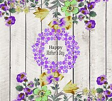 Vintage colorful mothers day floral rustic wood by Maria Fernandes