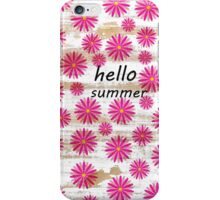 Pink abstract floral pattern rustic white wood iPhone Case/Skin