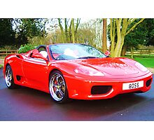 ferrari 360 spider rosso red with boss numberplate Photographic Print