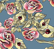 Rose Garden Floral Pattern Blue and Green by veggiemuse