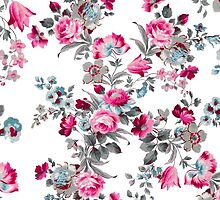 Vintage girly pink blue gray floral pattern by Maria Fernandes