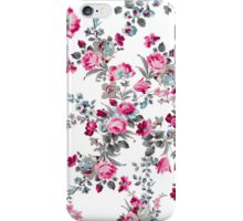 Vintage girly pink blue gray floral pattern iPhone Case/Skin