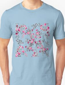 Vintage girly pink blue gray floral pattern Unisex T-Shirt