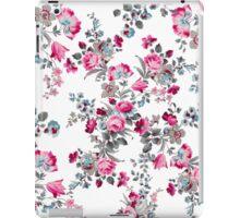 Vintage girly pink blue gray floral pattern iPad Case/Skin