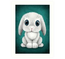 Cute White Baby Bunny Rabbit  Art Print