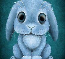 Cute Blue Baby Bunny Rabbit  by Jeff Bartels