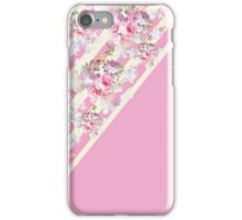 Pink vintage roses floral yellow stripes pattern iPhone Case/Skin