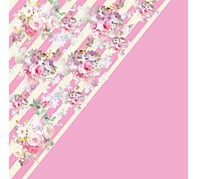 Pink vintage roses floral yellow stripes pattern Photographic Print