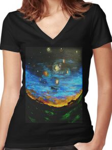 Country Starry Night Women's Fitted V-Neck T-Shirt