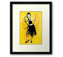 Clubbing woman yellow background Framed Print